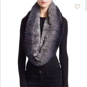Accessories - Beautiful knitted black/gray rabbit fur scarf.